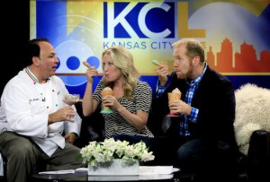 KC Live's Michelle Davidson and Michael Mackie with chef Jasper Mirabile. (Photo credit: Jim Barcus)