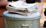 Newspaper garbage can