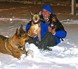 Lezak with weather dogs Breezy and Stormy (Stewie is visiting)